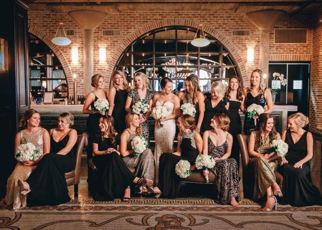 bridal party black gold bridesmaid dresses classic wedding astorian houston ama by aisha