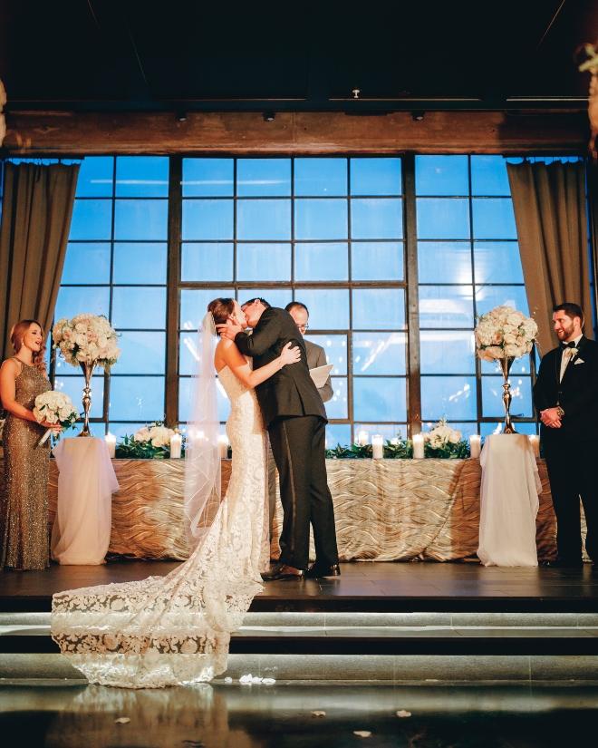 bride groom kiss ceremony classic wedding astorian houston ama by aisha