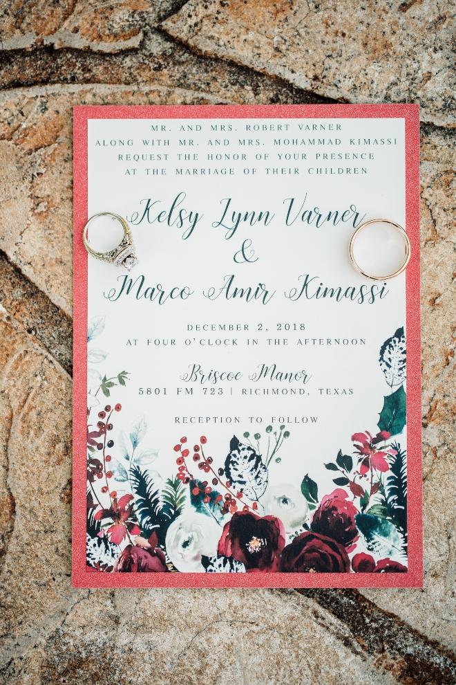christmastime wedding invitatioon red black green white houston wedding briscoe manor