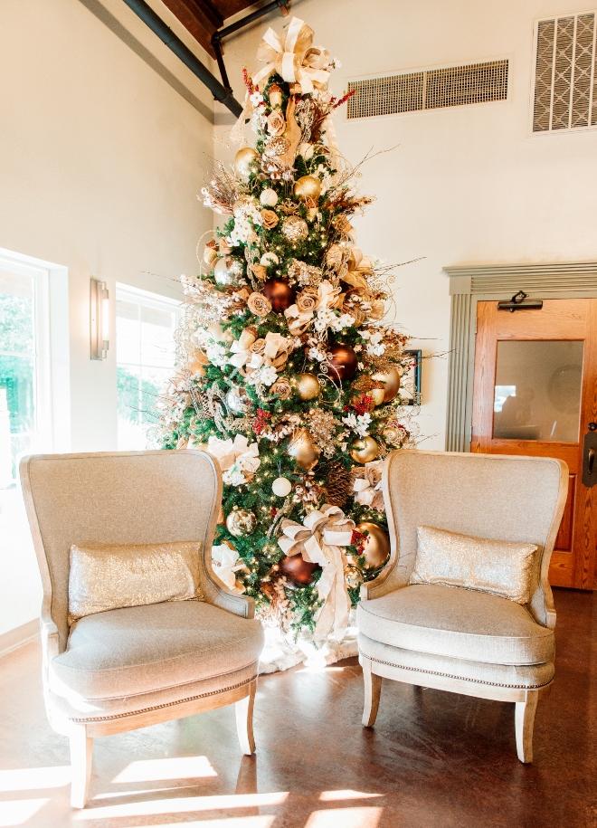 christmastime wedding briscoe manor tree ornaments lobby