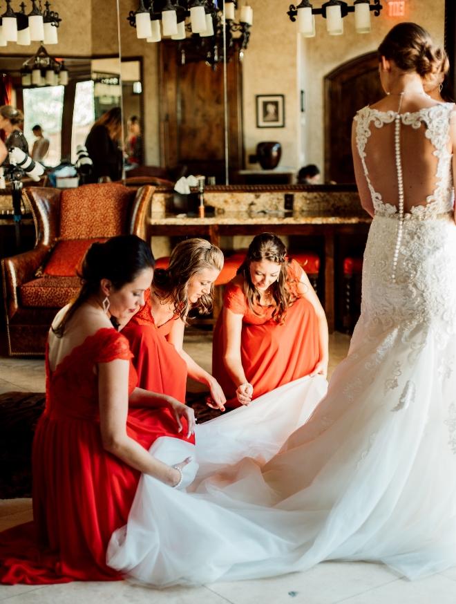 wedding houston briscoe manor red bridesmaid dress