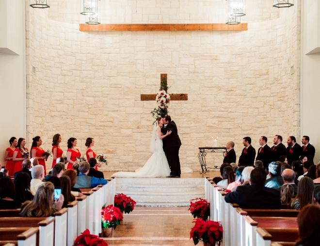 christmastime wedding houston briscoe manor chapel ceremony tomball