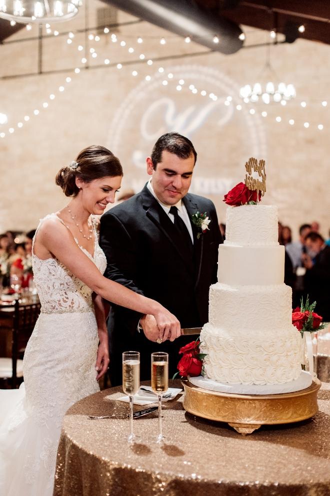 bride groom white red wedding cake briscoe manor houston