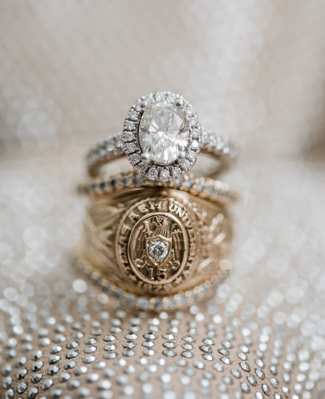 diamond engagement ring wedding band aggie school ring