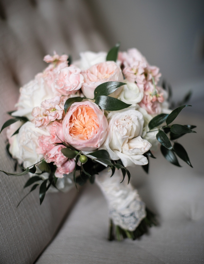 classic blush and gold wedding hand tied bridal bouquet peonies