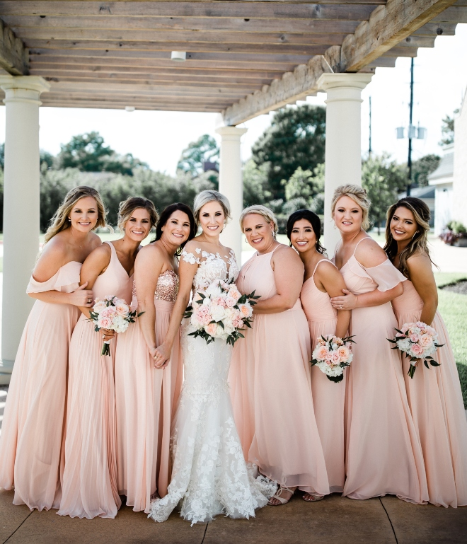 blush and gold wedding bridesmaids dresses ashton gardens houston