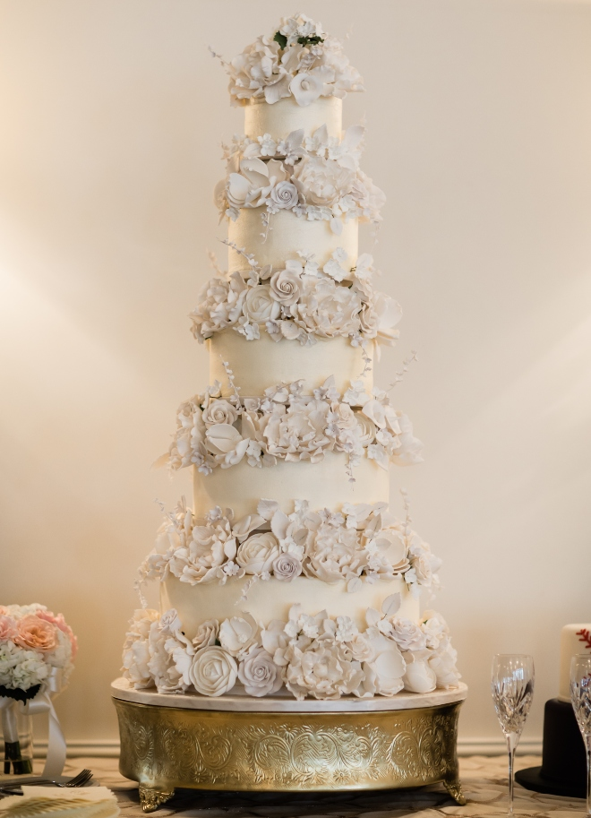 cakes by gina houston blush and gold wedding cake four tier sugar flowers