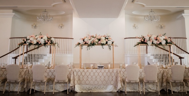 ashton gardens west classic blush and gold wedding high frame centerpiece reception