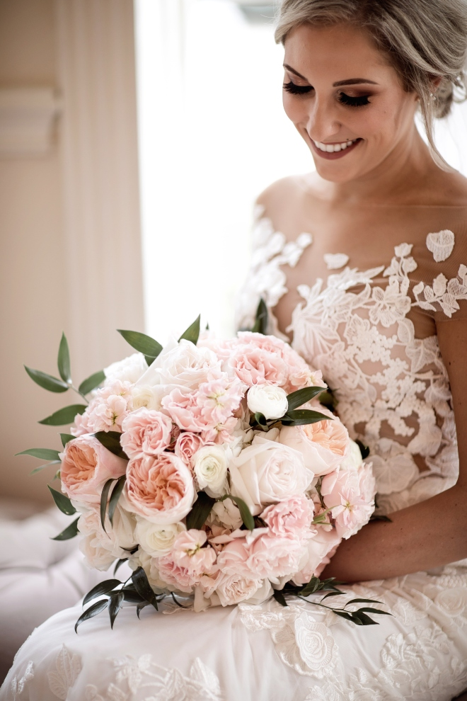 dream bouquet houston florist bride blush pink white peony hand tied