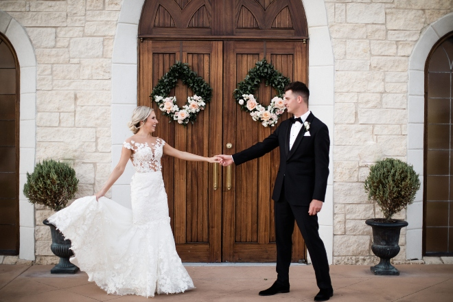 ashton gardens west classic blush and gold wedding couple portrait front doors