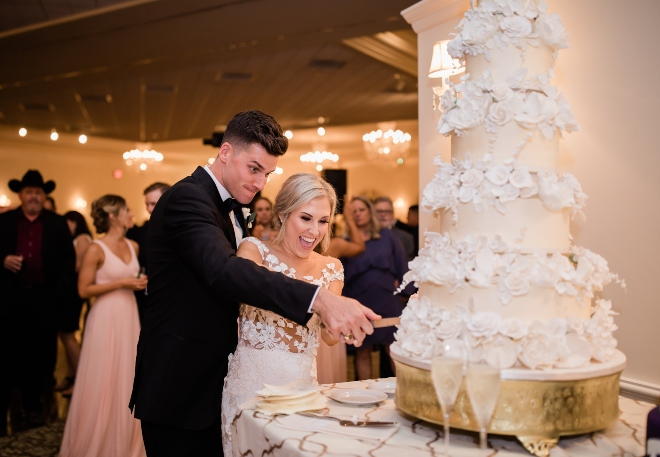 classic blush and gold wedding bride groom cake cutting cakes by gina eb inc