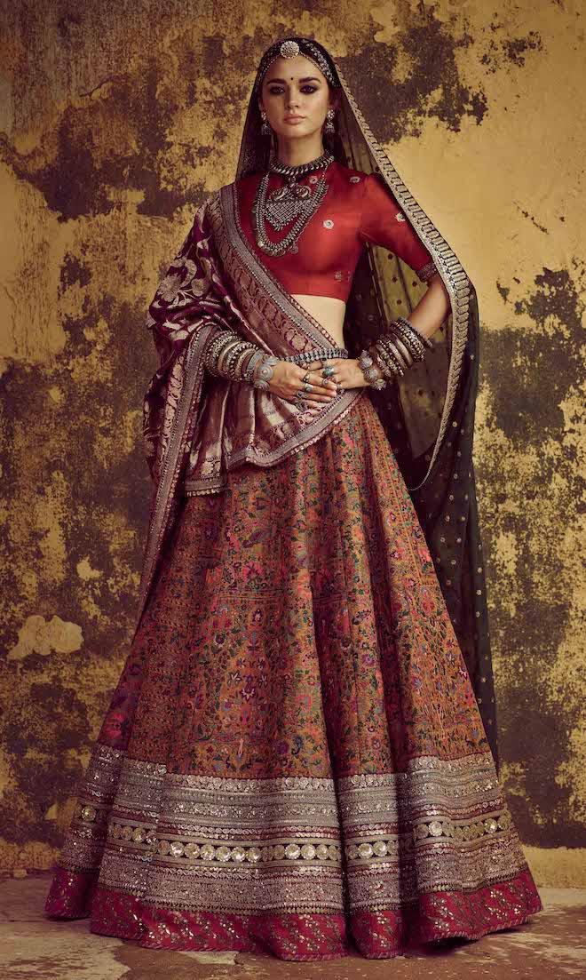 red gold pashmina lehenga sabyasachi 2020 indian wedding style