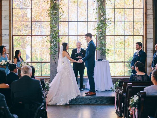 bride groom chapel ceremony big sky barn windows civic photos