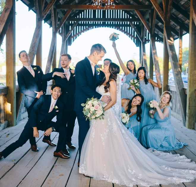 bridal party big sky barn wedding civic photos