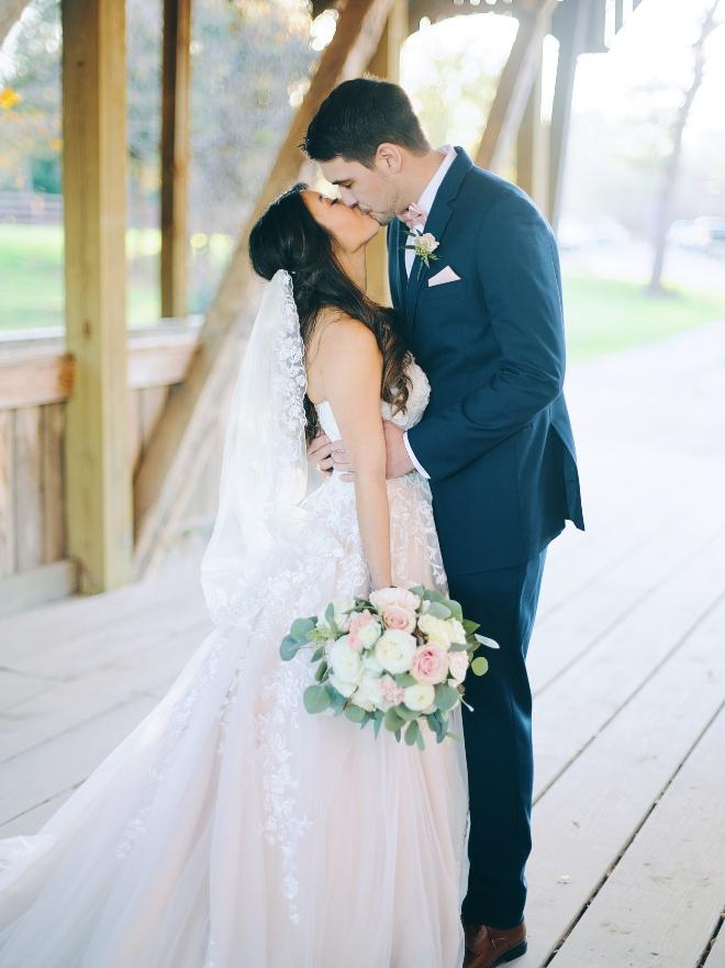 big sky barn wedding bridge newlyweds portrait natural light civic photos