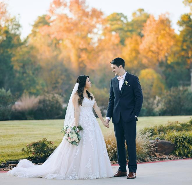 bride groom portrait outdoors trees lawn big sky barn civic photos