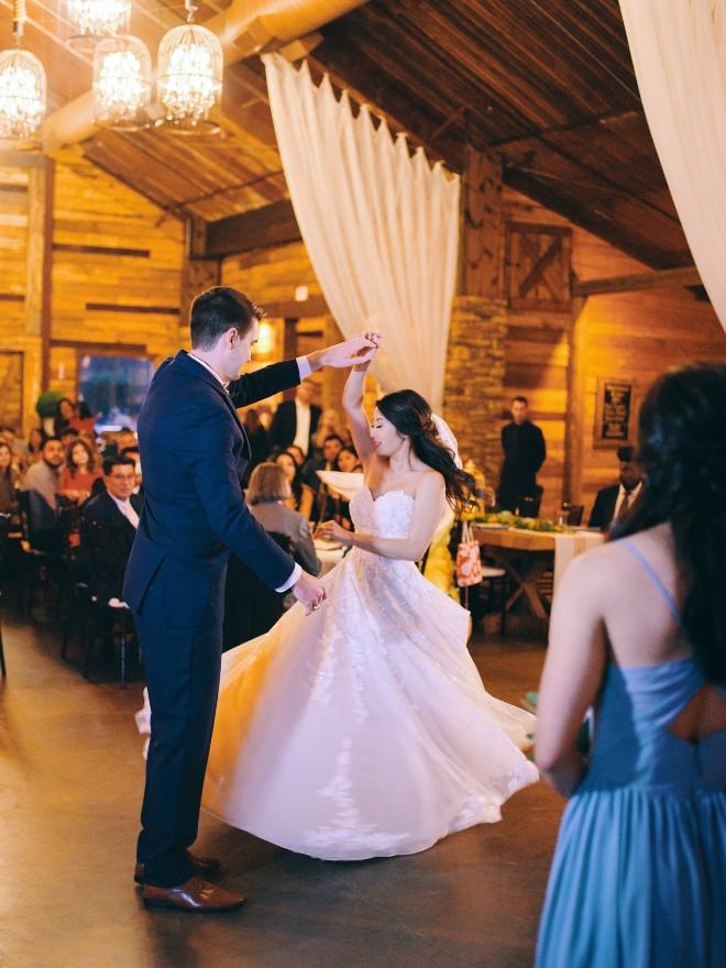 bride groom first dance big sky barn wedding civic photos
