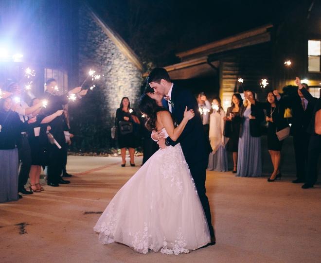 big sky barn wedding sparkler exit civic photos