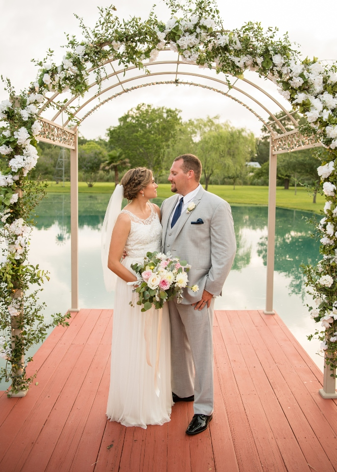 kemah gardens relaxed wedding outdoor ceremony lake deck