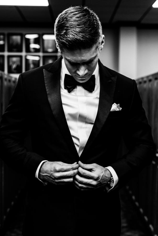 black and white groom portrait tux houston texas