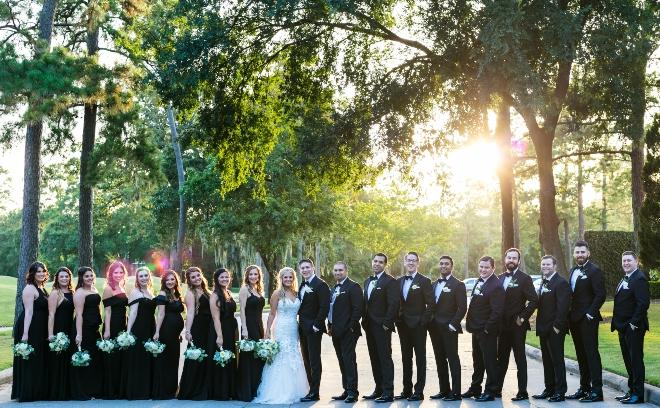 bridal party bridesmaids groomsmen outdoor portrait northgate country club houston texas