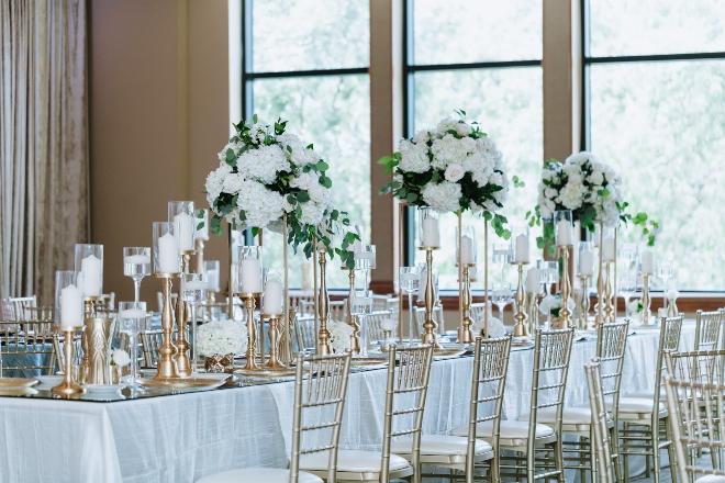 mixed metallics wedding houston banquet table white green centerpieces gold chiavaris