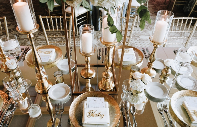 mixed metallics wedding tabletop reception northgate country club eb inc chargers