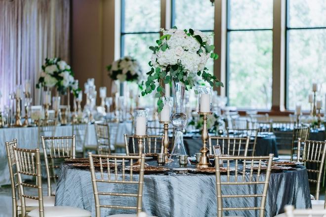 mixed metallics wedding eb inc houston silver gold rose gold reception table