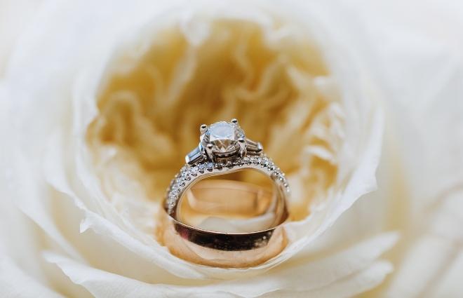 diamond engagement ring inside flower