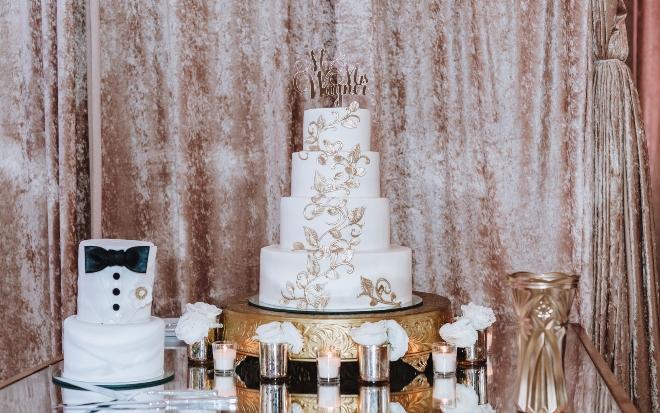 mixed metallics wedding gold silver white wedding cake tuxedo groom mirror table