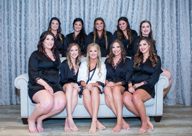 mixed metallics wedding houston northgate country club bridal party robes