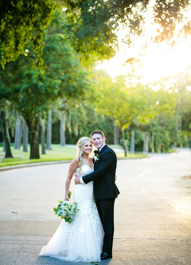 mixed metallics wedding northgate country club bride groom portrait outdoors