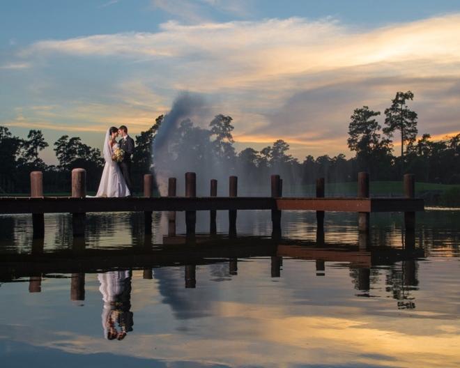 the woodlands resort houston wedding venue lake bridge sunset