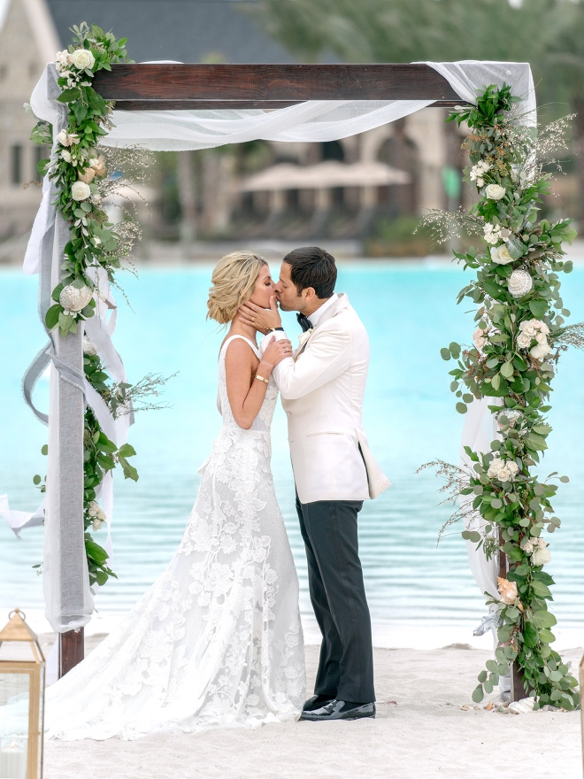 balmoral crystal clear lagoon blue water view outdoor ceremony chiffon canopy