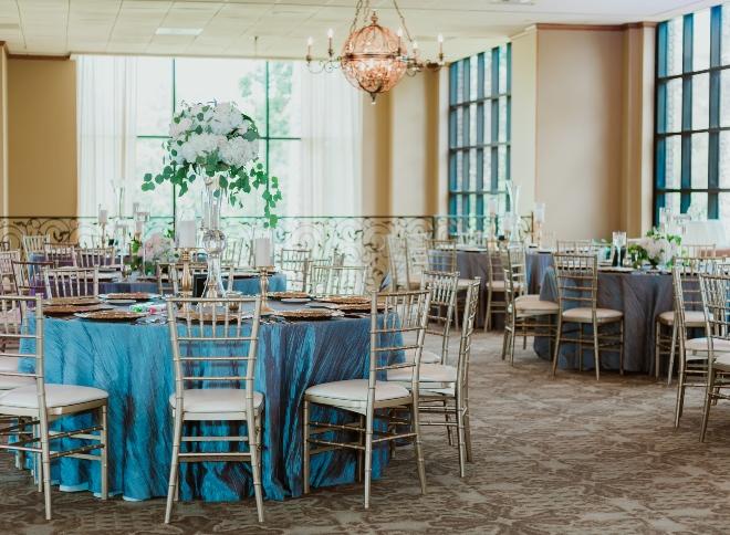 mixed metallics wedding northgate country club blue silver linen gold chiavaris room