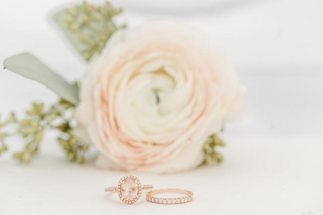 engagement ring wedding band rose gold diamond close up flower amy maddox houston