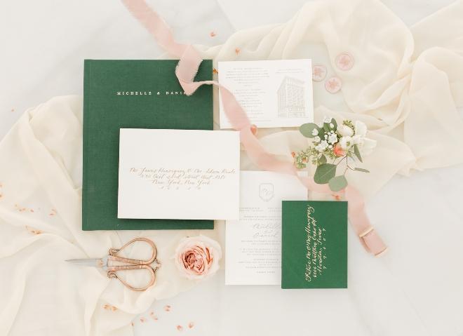 wedding invitation suite styled flat lay ribbon chiffon scissors amy maddox photography houston