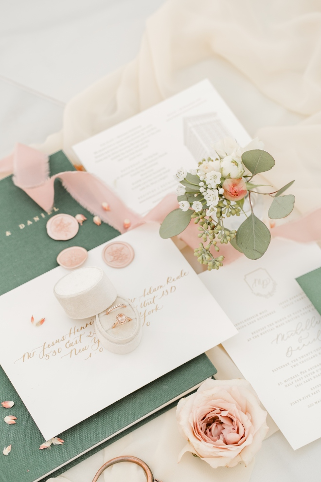invitation suite flowers ring detail photo amy maddox