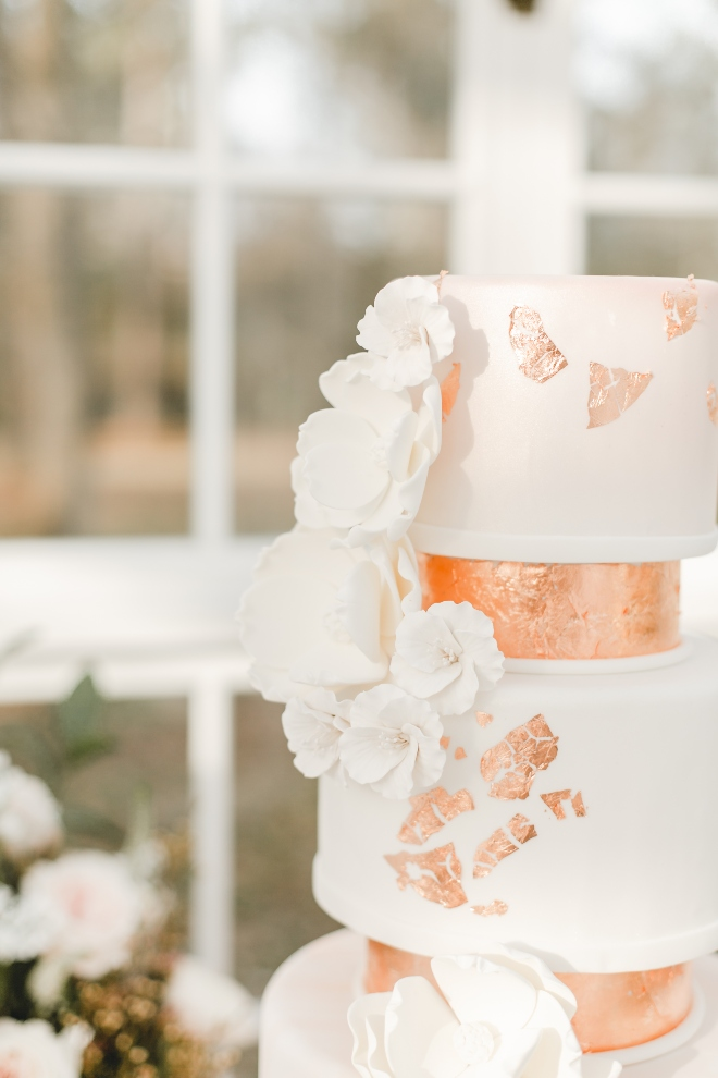 cakes by gina round tiered wedding cake rose gold close up amy maddox
