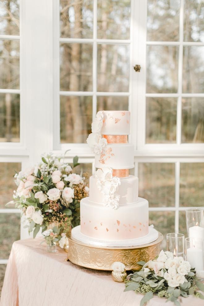cakes by gina wedding cake silver metallic peach pink ribbon sugar paste flowers natural light wedding photography