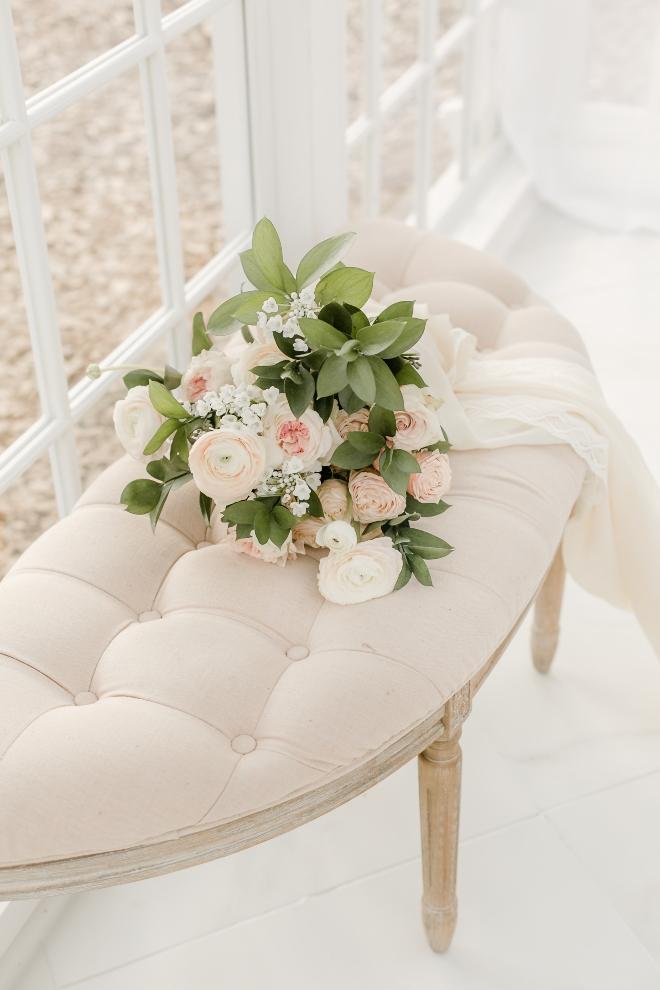 chiffon ribbon tied bouquet white ottoman natural light wedding photography amy maddox