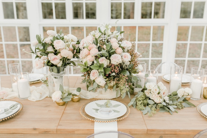 farm table blush white greenery rose centerpiece chiffon runner natural light wedding photography amy maddox