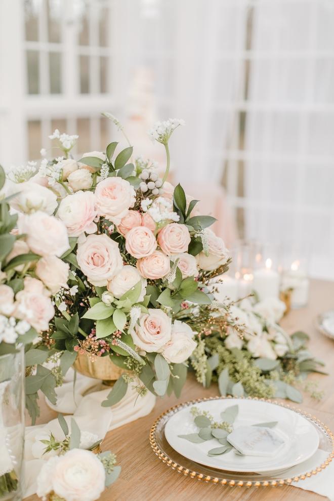 boho wedding reception centerpiece blush pink roses eucalyptus amy maddox