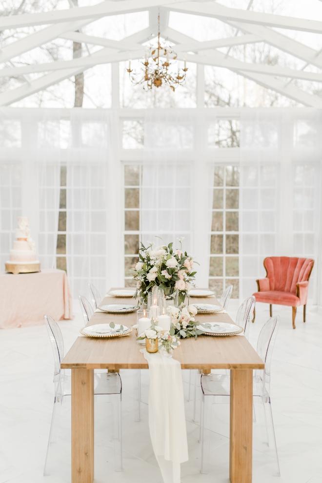 room shot reception glass conservatory farm table chiffon runner natural light wedding photography amy maddox