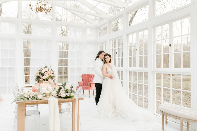 amy maddox houston natural light wedding photography full room shot bride groom vintage glass conservatory