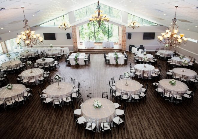 affordable all inclusive venue wedding garden floor to ceiling windows chandeliers ceremony reception shirley acres northwest houston