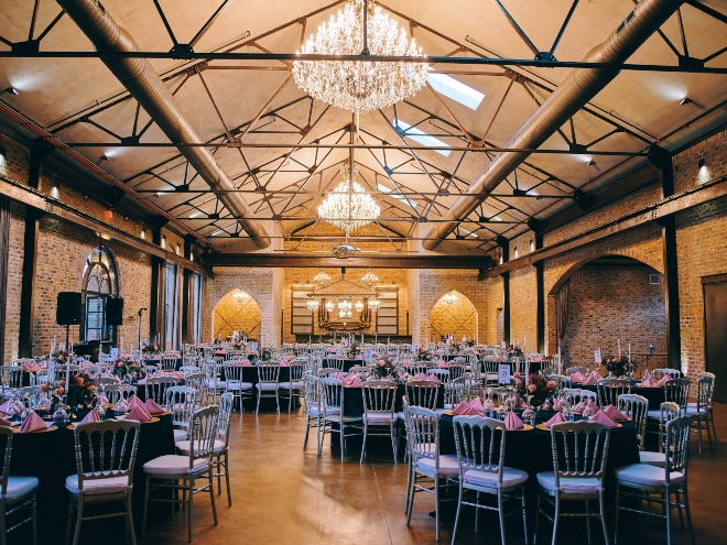 iron manor crane hall wedding reception round tables navy pink civic photos