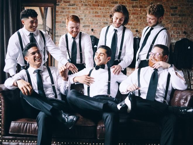 groom groomsmen suspenders black ties getting ready iron manor civic photos