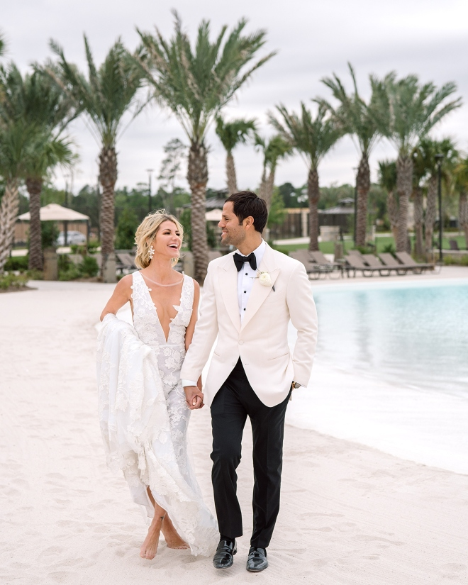 beach wedding venue humble texas palm trees bride groom sand blue water