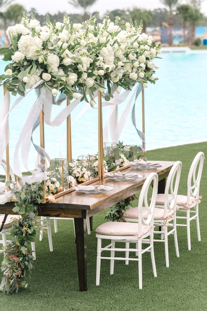 tropical beach wedding venue humble texas crystal clear lagoon dream bouquet eb inc stephania campos lg event farm table white greenery